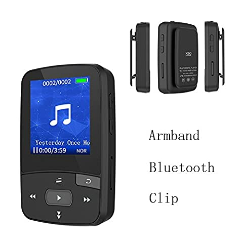 CFZC Bluetooth Clip 8GB MP3 Player Sport MP4 Lossless Sound Music Player with FM Radio Pedometer-Expandable Micro SD Card to (Armband Music Player)
