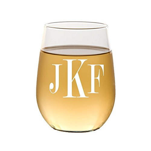 Monogram Etched Glass (Personalized Stemless wine Glass,Monogram Wine Glass, Etched Wine/ Flute Glass, Housewarming Gift , Wedding Gifts)