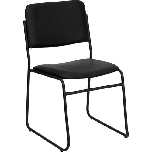 Parkside Series 1000 lb. Capacity High Density Black Vinyl Stacking Chair with Sled Base by Parkside