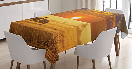 Ambesonne African Decorations Tablecloth, Group of Zebra on The West African Safari Territory at Sunset Horizon Tropic Photo, Dining Room Kitchen Rectangular Table Cover, 60 X 90 inches, Orange