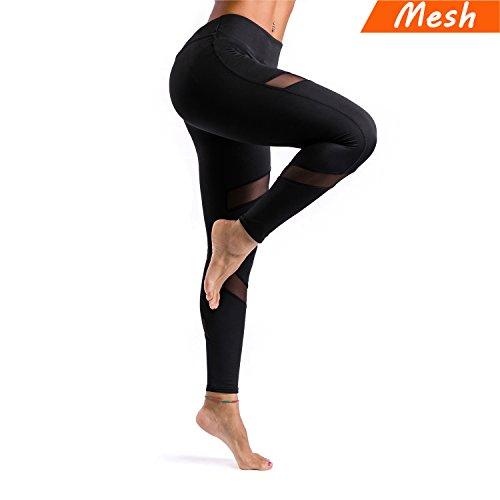 KT Sports Yoga Leggings, Gym Workout Pants Fitness Mesh Leggings for Women (Mesh Black, Large)