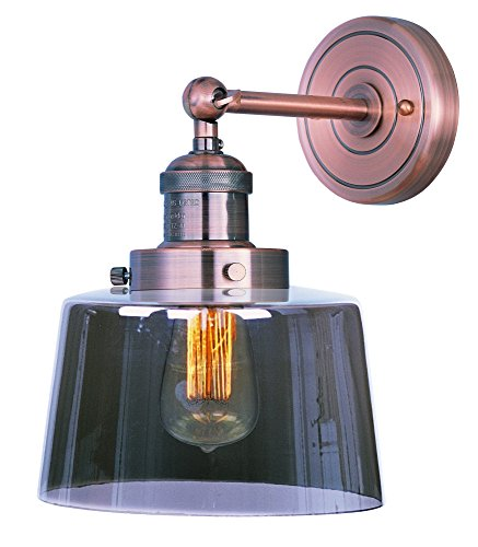 Maxim 25069MSKACP Mini Hi-Bay 1-Light Wall Sconce, Antique Copper Finish, Mirror Smoke Glass, MB Incandescent Incandescent Bulb , 60W Max., Dry Safety Rating, Standard Dimmable, Organza Fabric + Gla Shade Material, Rated Lumens