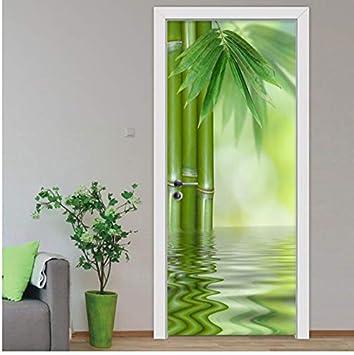 Diy Pegatinas De Puerta De Pared 3D Estilo Chino Verde Bambú Papel Pintado Salón Decoración Mural 80X200Cm: Amazon.es: Bricolaje y herramientas