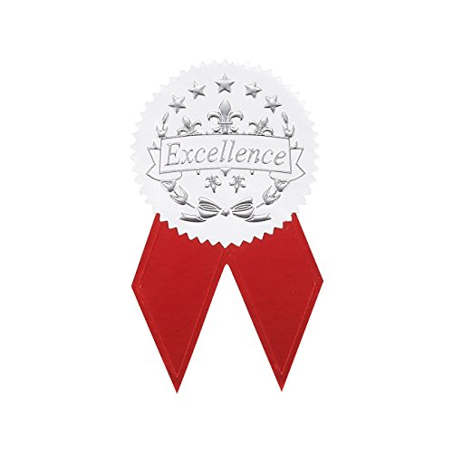 Award Stickers - 48 Silver Certificate Seals with 48 Red Ribbon Shaped Stickers, Excellence Star Stickers for Certificates Gold Star Seal