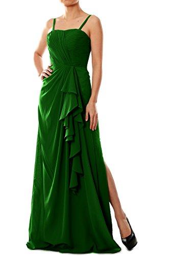 MACloth Women Spaghetti Straps Long Chiffon Bridesmaid Dress Formal Evening Gown Verde Oscuro