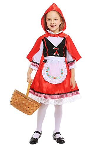 SAMCOS Halloween Little Red Riding Hood Childrens Costume Pastoral Rural Vintage Cosplay Costume for Kids Girls (Small, Red)]()