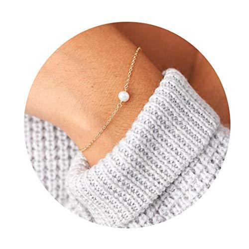 Citled Women Pearl Bracelet, Hammered 14K Gold Plated Dainty Freshwater 1 Pearl Charm Gold Bracelet for Women Girls Jewelry Gifts (Bracelet White Charm Gold 14k)