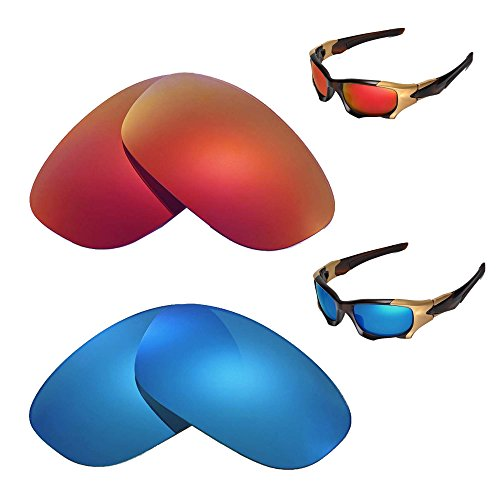 Walleva Polarized Fire Red + Ice Blue Replacement Lenses Oakley PIT BOSS - Boss Pit Lenses Oakley