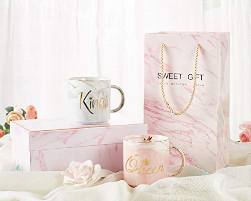 King and Queen Couples Coffee Mugs- Present Idea for Bridal Shower, Wedding, Engagement, Anniversary, Newlyweds, and Couples- Ceramic Marble Cups 13 oz (Pink Marble Boxes and Pink Marble Bags) (Ceramic Couple)
