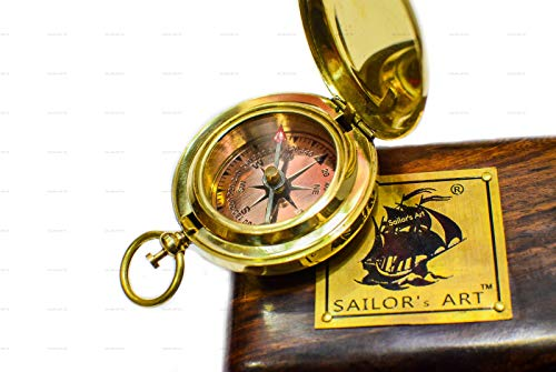 (Sailor's Art Brass Compass Handmade Push Button Direction Pocket Compass C-1836 Antique Home Décor Item, Ideal Gifts)