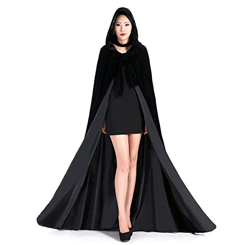 Newdeve Halloween Hooded Cloak Medieval Wedding Cape Black Robe Cosplay (XXX-Large, Black-Black)