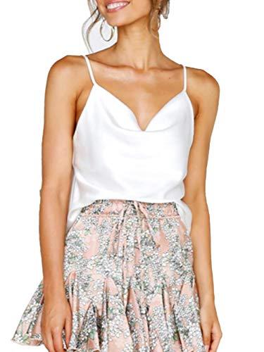 Famulily Women Soft Silky Satin Camisole Cowl Neckline Sleeveless Halter Tank Top Spaghetti Strap Cami Vest White M