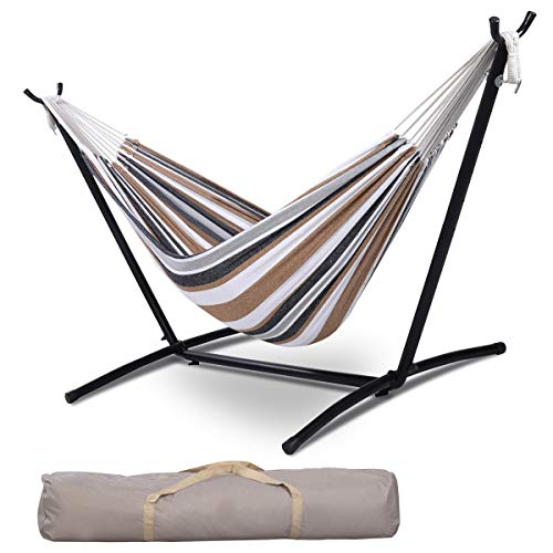 Giantex Hammock with Stand, 9 Ft Rope Double Hammock and Hammock Stand, 2 Person Sleeping Portable Swing Set with Carry Bag for Indoor Outdoor Backyard Travel Lawn Pool Camp Patio