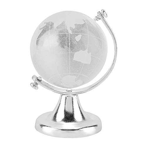 Fdit Round Earth Crystal Glass Ball Sphere Globe World Map Clear Paperweight Stand Desk Home Office Decor Crafts Art Gift(Silver)