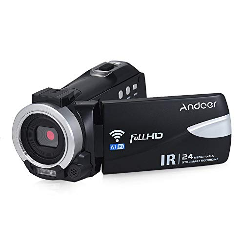 Andoer 1080P 24M WiFi Digital Video Camera Camcorder Recorder DV with IR Night Vision/ 16X Zoom/Remote Control/Hot Shoe Mount for External Microphone