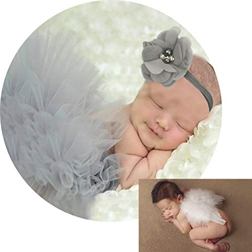 Newborn Photography Outfits for Baby Girl Clothes Fluffy Gray Tutus Skirt Newborn Headbands + Infant Feather Angel Wings, Baby Girls Christmas Costume Gifts for Baby Shower Photo Shoots Props