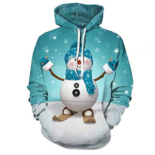 (VEZAD 3D Printed Christmas Hoodie Mens Pullover Long Sleeve Hooded Sweatshirt Blue)