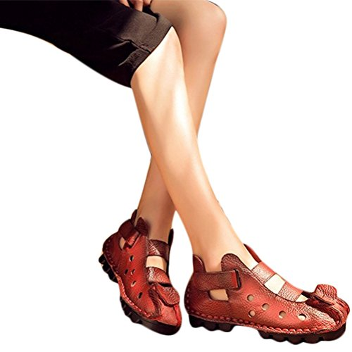 Mordenmiss Womens Summer Leather Huarache Sandals Ankle Flat Shoes Style 2-red tEAGDjal
