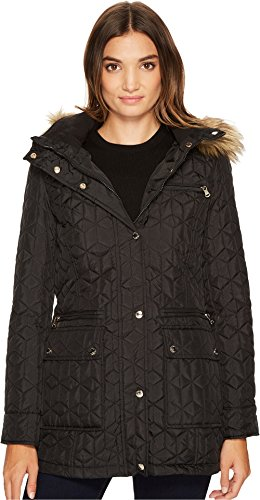 Calvin Klein Women's Quilted Jacket With Fur Trimmed Hood Black Outerwear