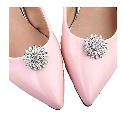 - 1 Pair Removable Rhinestone Crystal Shoe Clips Shoe Buckle Women Wedding Party Shoes Decoration Charms Dress Hat Shoes Clips (A#)