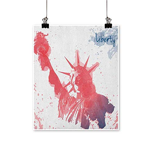 HouseDecor 4th of July,Room Decor Watercolor Lady Liberty Silhouette with Paint Splashes Independence W32 xL48 Beautiful Modern Frameless Artwork