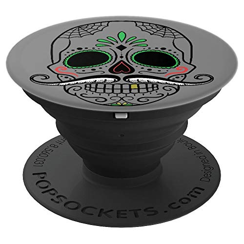 Hipster Skull Mustache Halloween Dia De Los Muertos Mexico - PopSockets Grip and Stand for Phones and Tablets]()