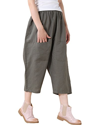 Military Style Cropped (Mordenmiss Women's Casual Harem Pants With Big Pockets (Large, Style 2 Army Green))