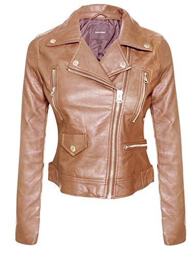 Instar Mode Women's Long Sleeve Zipper Closure Moto Biker Faux Leather Jacket Cognac M