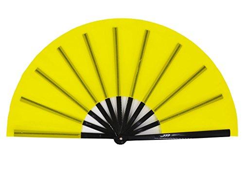 Amajiji Large Folding Fan, Chinease/Japanese Folding Silk Hand Fan, Women Hand Folding Fans Hand Fan Gift Fan Craft Fan Folding Fan Dance Fan (Yellow)