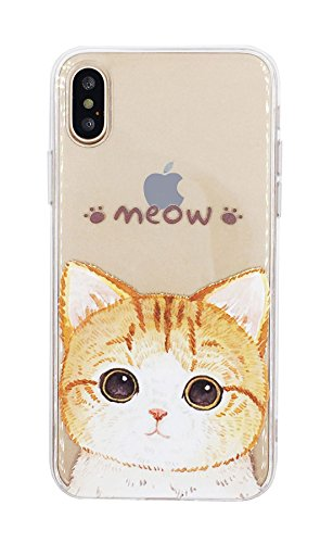 iPhone X case Cat Kitten cute Watercolor Flexible Pattern Printed Silicone Lightweight Ultra Thin for iPhone X + Tempered Glass Screen Protector For iPhone - Kitten Glasses