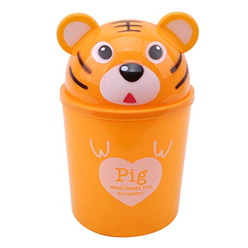 TraveT Desktop Trash Can Cartoon Animals Wastebasket Rubbish Storage Bin Mini Garbage Organizer for Office Home Decoretion,Yellow Tiger