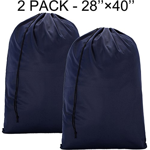 BGTREND 2 Pack Extra Large Laundry Bag [28''×40''] Machine Washable Sturdy Rip-stop Material with Drawstring Closure, Blue