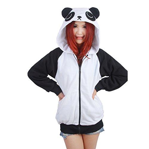 PALMFOX Unisex Cute Panda Hoodies Valentines Sweaters Sweatshirts Pullover Zip Valentine Gift -