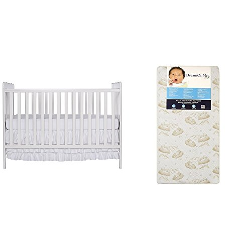 Dream On Me Classic 3 in 1 Convertible Stationary Side Crib with Dream On Me Spring Crib and Toddler Bed Mattress, Twilight ()