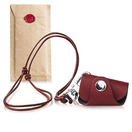Leather Lanyard for Id with Eyewear Holder red -