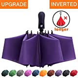 Fidus Inverted Reverse Sun&Rain Car Umbrella Large Windproof Travel UV Umbrella for Women Men - Auto Open Close(Purple)