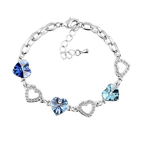 Le Premium Hearts Link Bracelet Heart Shaped SWAROVSKI Sapphire, Light Sapphire and Aquamarine Crystals (Light Link Heart Bracelet)
