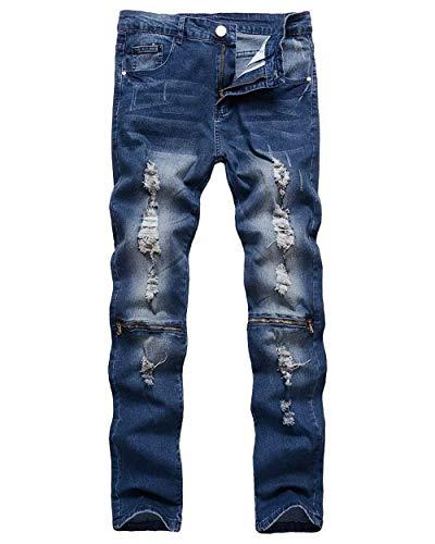 Zipper Pantaloni Slim Denim Ripped Skinny Blau Abiti Mens Casual Pants Fit Taglie Holes Biker Comode Jeans wqqt7UB