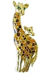 Goldplated Mom & Baby Giraffes Pin