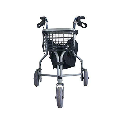 Folding Three-Wheeled Roller Walker with Lockable Cable Brakes Carrying Bag Basket and Tray Walking Aids Limited Mobile Assist