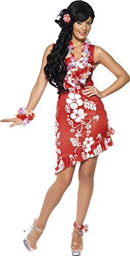 [Smiffy's Women's Hawaiian Beauty Costume, Dress, Hairpiece and Anklet, Hawaiian Luau, Serious Fun, Size 10-12,] (Hawaiian Costumes For Adults)