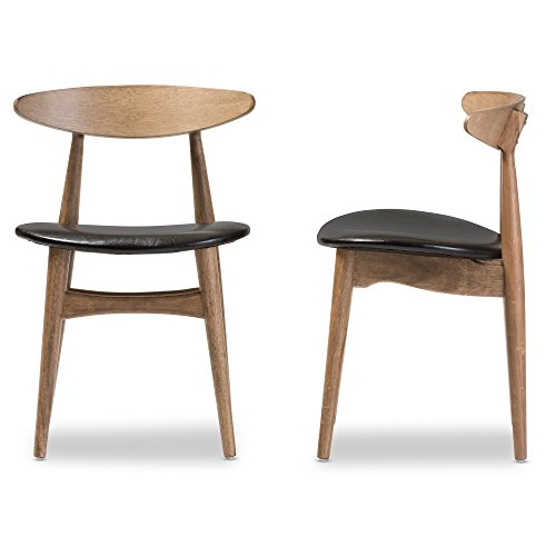Pair of Rubber Wood Dining Chairs with Black Seats