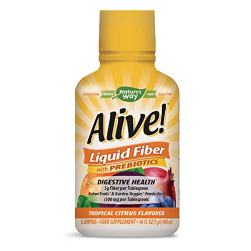 Nature's Way Alive! Liquid Fiber Sugar-Free w/Prebiotics, 5g Fiber per TBS, Citrus Flavored, 16 Oz.