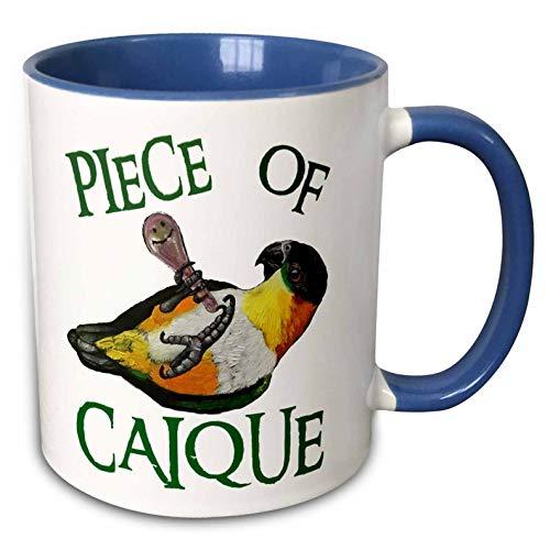 3dRose Skye Elizabeth Designs - Black Headed Caique with rattle - 15oz Mug (mug_308314_2) - 11-oz two-tone blue mug