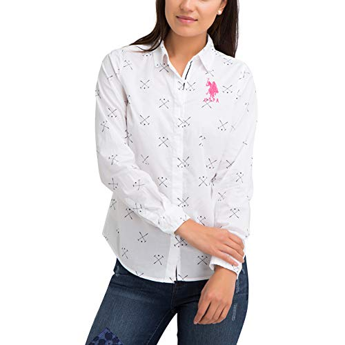 - U.S. Polo Assn. Womens Long Sleeve Printed Mallot Poplin Woven Button Down Shirt with Big Pony - Optic White, Extra Small