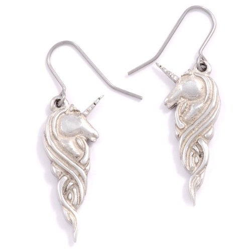 St Justin, Pewter Unicorn Drop Earrings