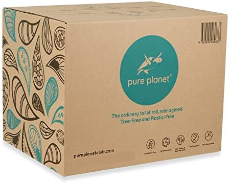 Pure Planet Club 3-Ply, Double Length, Tree-Free, Plastic-Free, Bamboo Toilet Tissue, 300 Sheets Per Roll, 36 Large Rolls Per Box