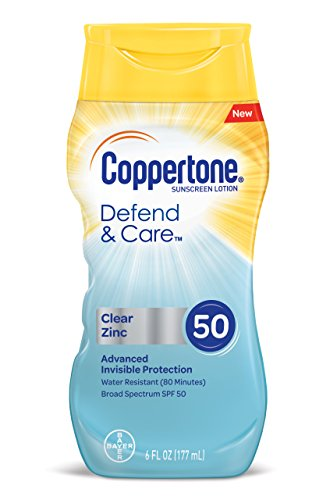 (Coppertone Defend & Care Clear Zinc Sunscreen Lotion Broad Spectrum SPF 50 (6 Fluid Ounce) (Packaging may)