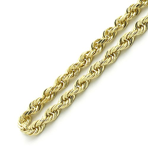 18K Gold 4MM Thick Diamond Cut Rope Chain Necklace Unisex Sizes 16