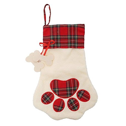 Personalized Pet Stockings - DegGod Christmas Pet Stocking, Personalized Dog Cat Paw Large Stocking Holders Gift Bag for Xmas Tree Hanging Decoration Home Fireplace Ornaments (7.9inch X 18.1inch) (Red)